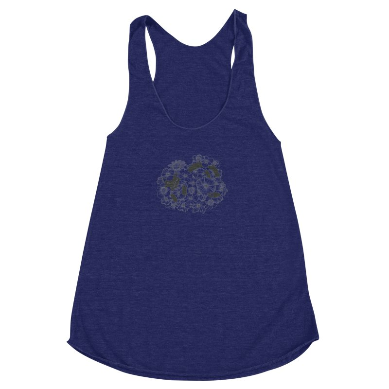flower and cat Women's Racerback Triblend Tank by nyc917's Artist Shop