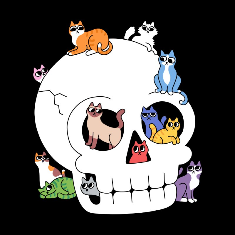 Skull is Full of Cats Kids T-Shirt by obinsun