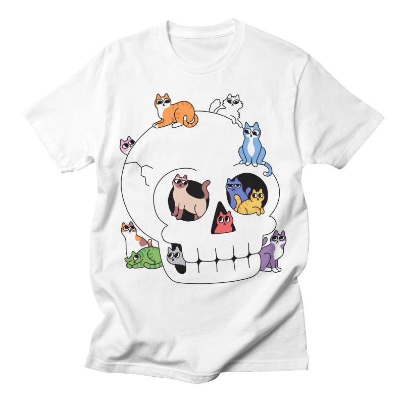 Skull is Full of Cats Men's T-Shirt by obinsun
