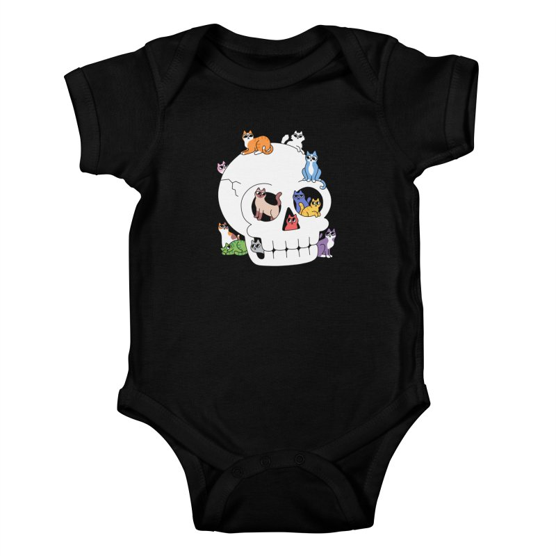 Skull is Full of Cats Kids Baby Bodysuit by obinsun