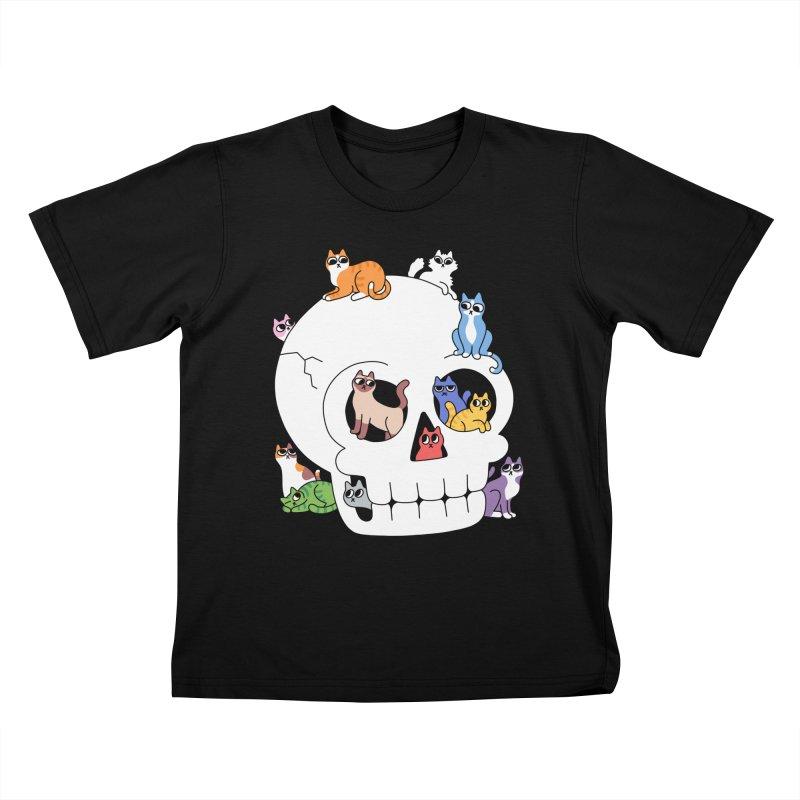 Skull is Full of Cats Kids T-Shirt by obinsun