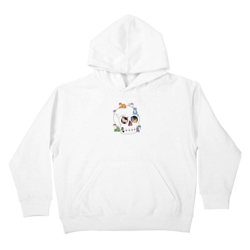 Skull is Full of Cats Kids Pullover Hoody by obinsun