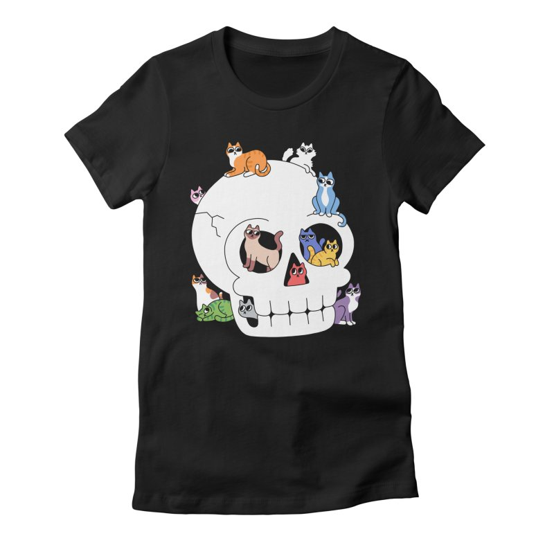 Skull is Full of Cats Women's T-Shirt by obinsun