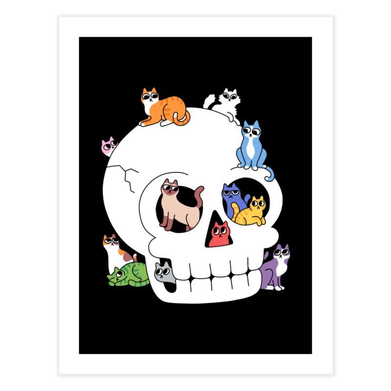 Skull is Full of Cats Home Fine Art Print by obinsun