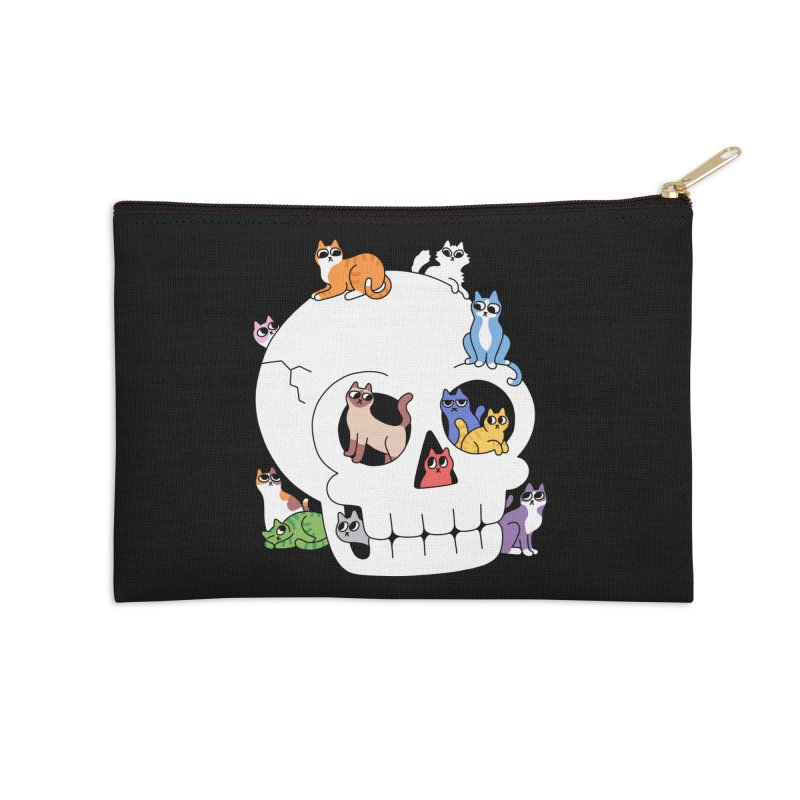 Skull is Full of Cats Accessories Zip Pouch by obinsun