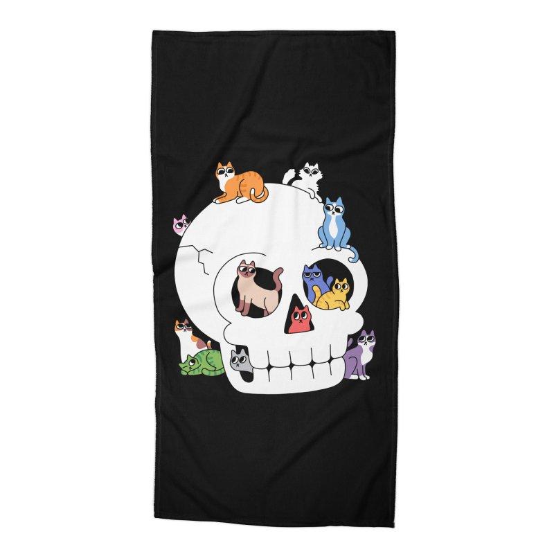Skull is Full of Cats Accessories Beach Towel by obinsun