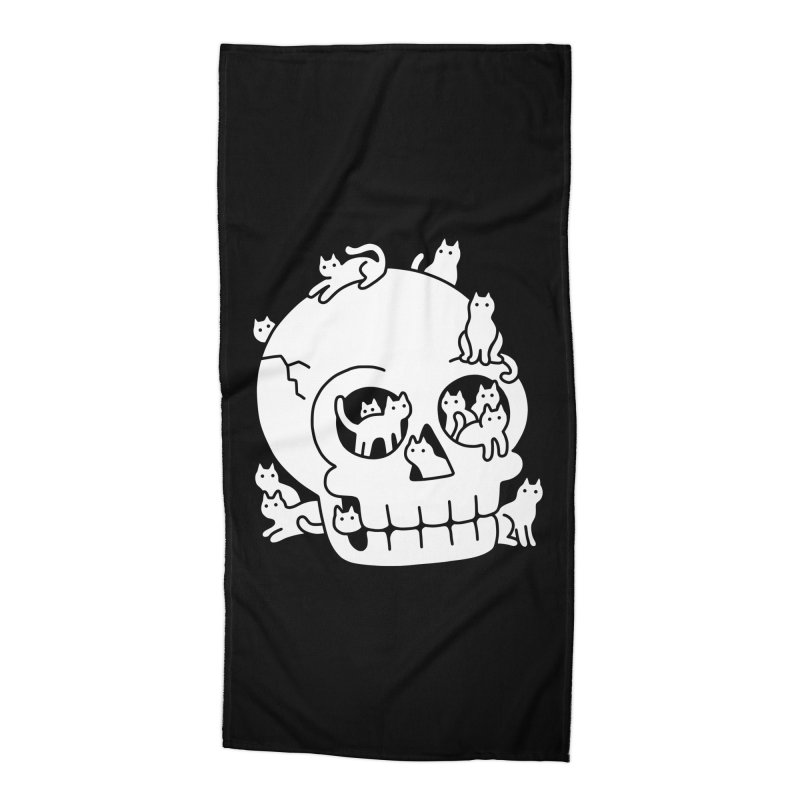 Skull is Full of Cats Doodle Accessories Beach Towel by obinsun