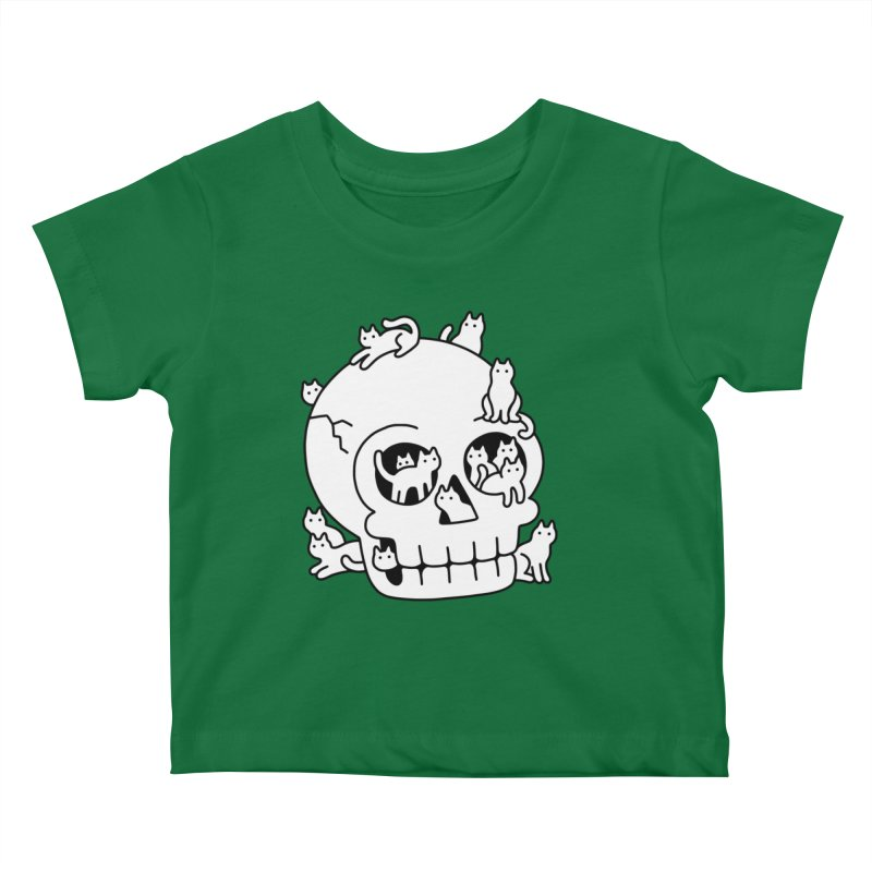 Skull is Full of Cats Doodle Kids Baby T-Shirt by obinsun
