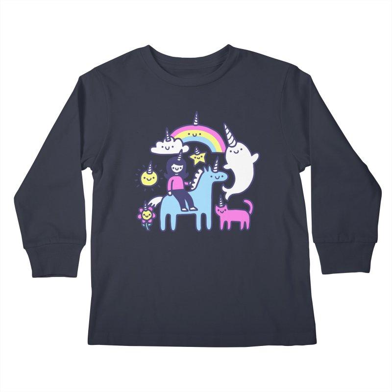 Unicorns Everywhere! Kids Longsleeve T-Shirt by obinsun