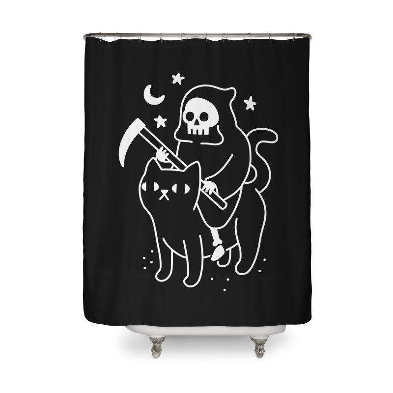 Death Rides A Black Cat Home Shower Curtain by obinsun