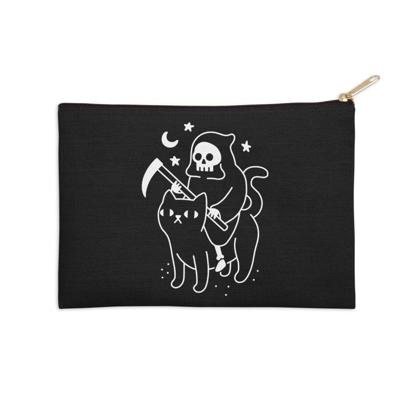 Death Rides A Black Cat Accessories Zip Pouch by obinsun