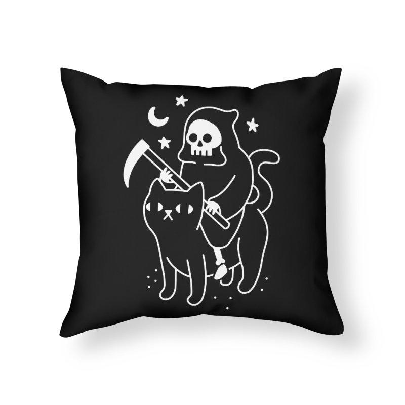 Death Rides A Black Cat Home Throw Pillow by obinsun