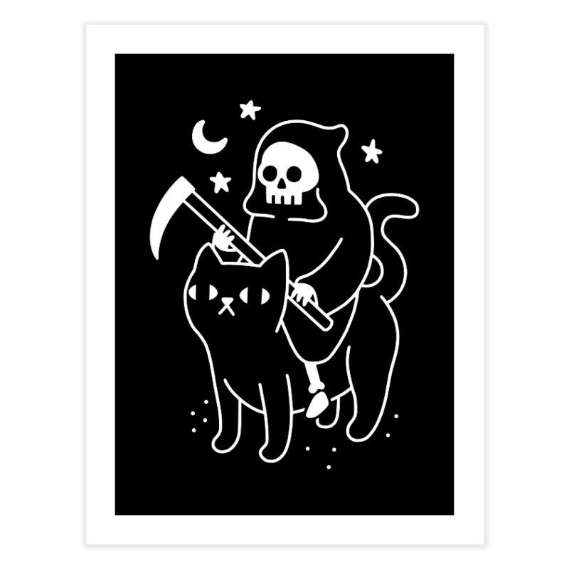 Death Rides A Black Cat Home Fine Art Print by obinsun