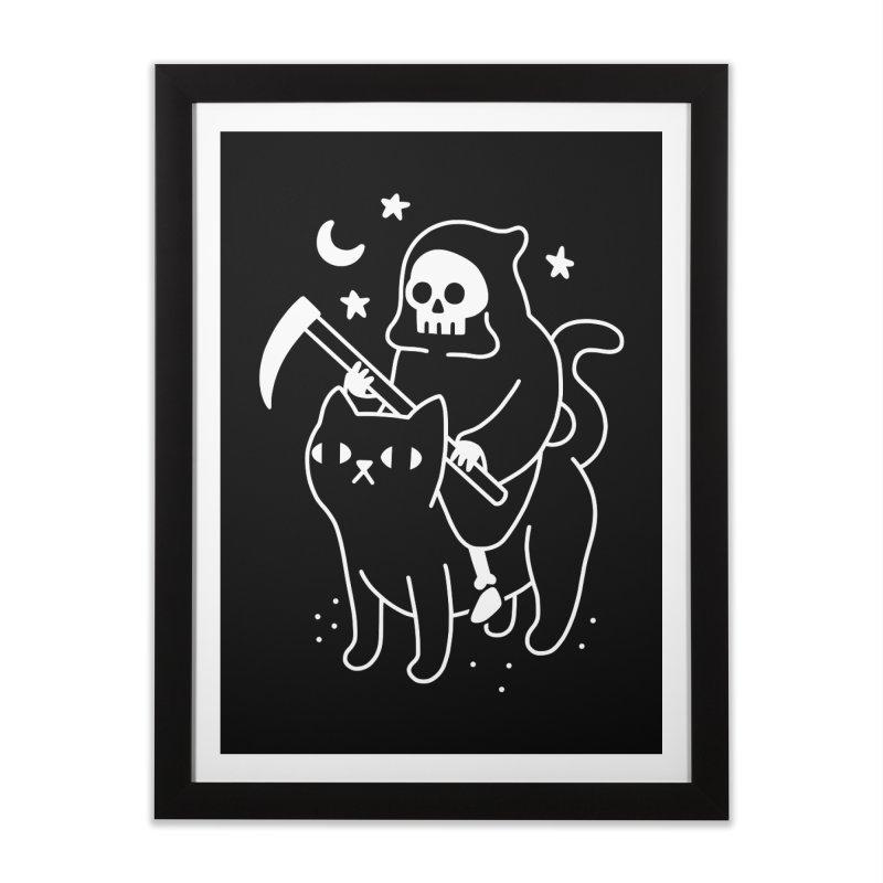 Death Rides A Black Cat Home Framed Fine Art Print by obinsun