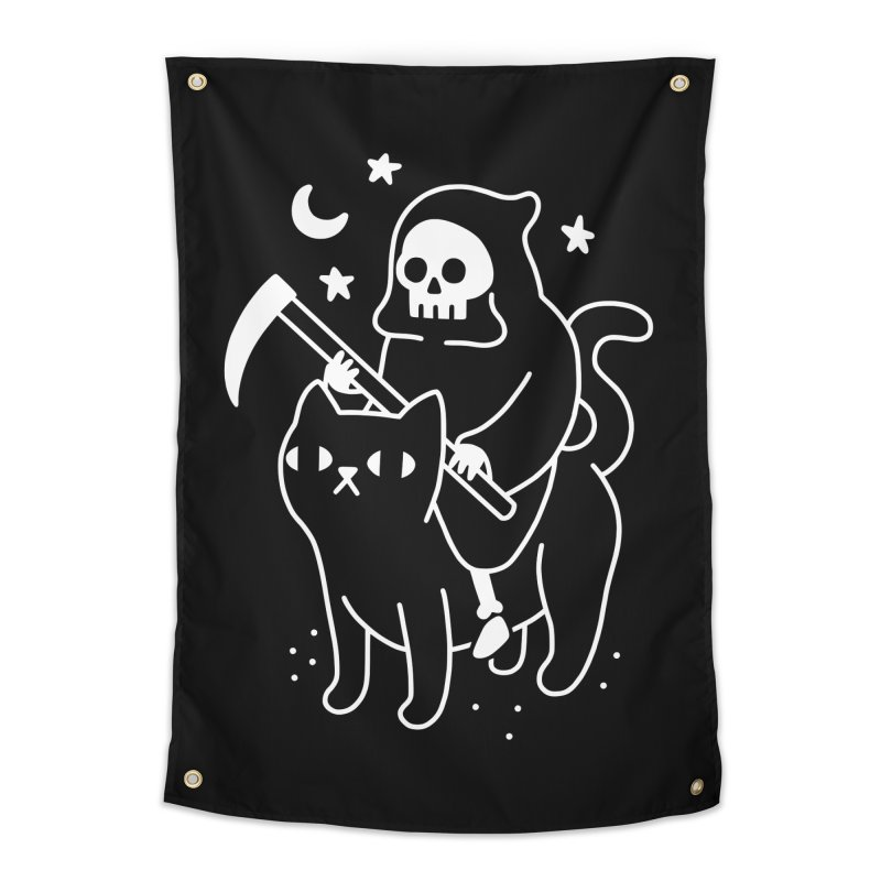 Death Rides A Black Cat Home Tapestry by obinsun
