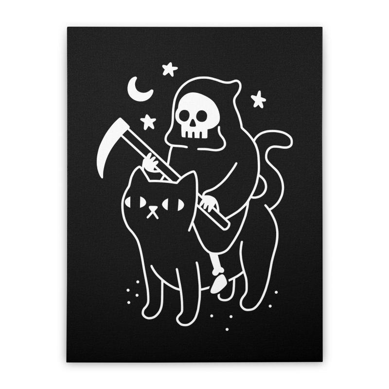 Death Rides A Black Cat Home Stretched Canvas by obinsun