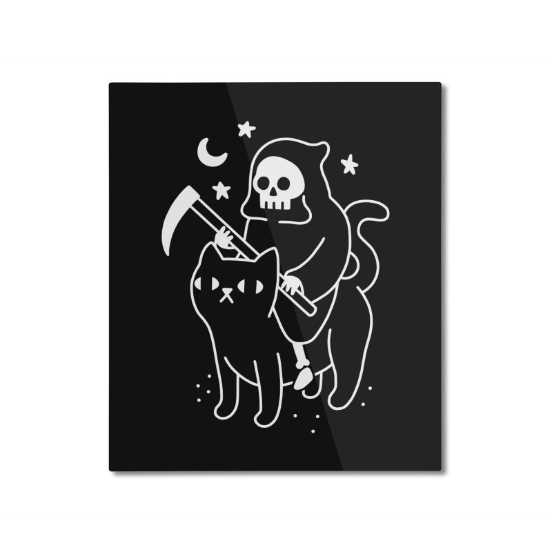 Death Rides A Black Cat Home Mounted Aluminum Print by obinsun
