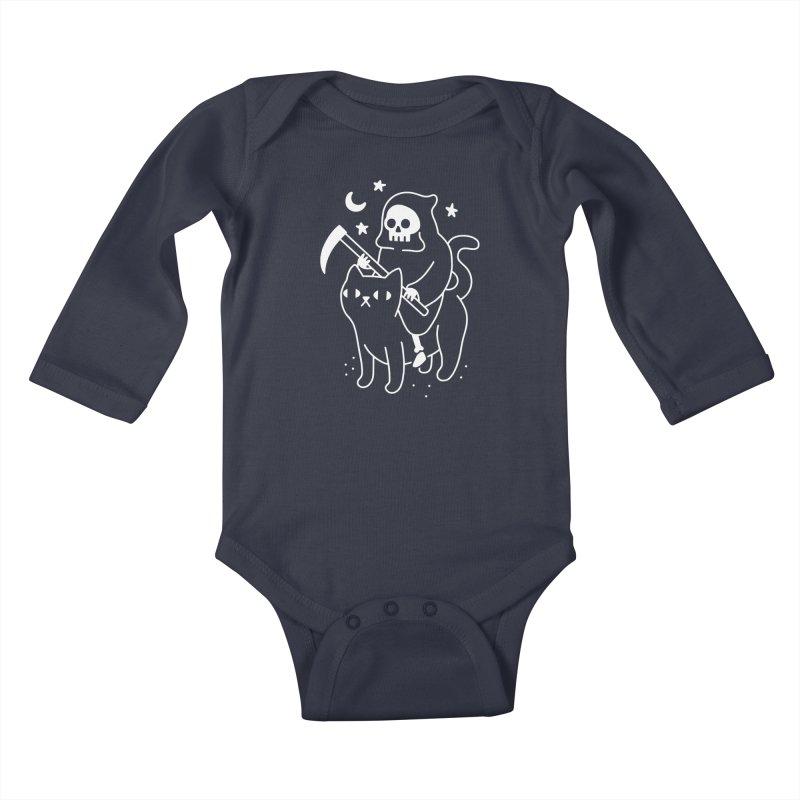 Death Rides A Black Cat Kids Baby Longsleeve Bodysuit by obinsun