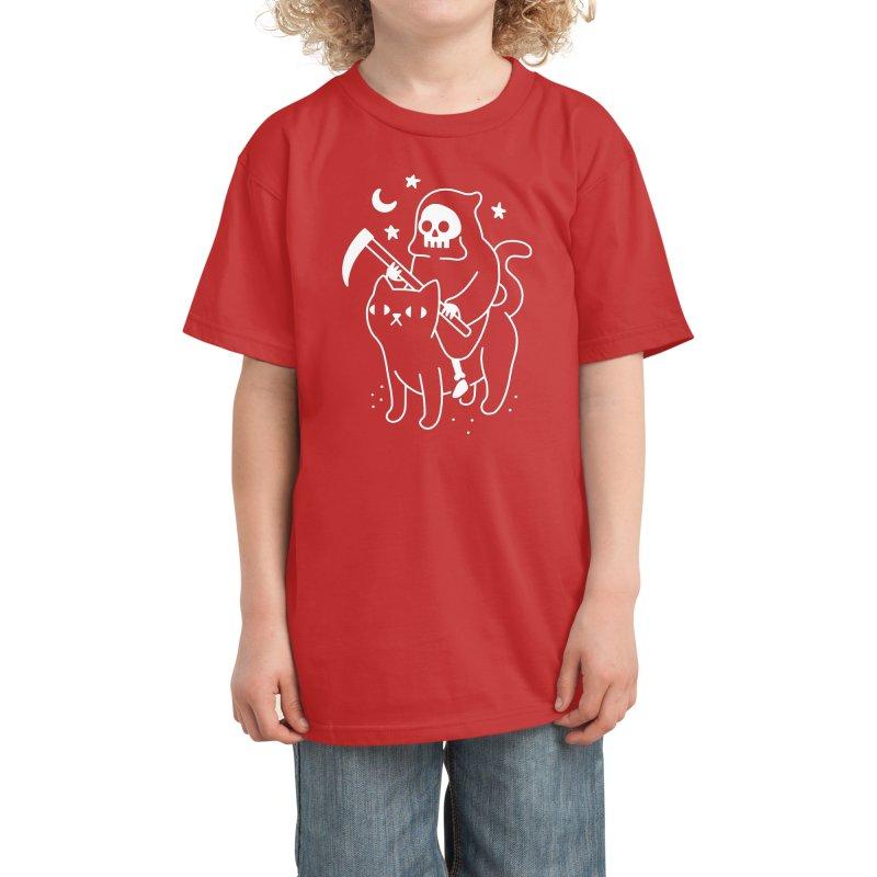 Death Rides A Black Cat Kids T-Shirt by obinsun