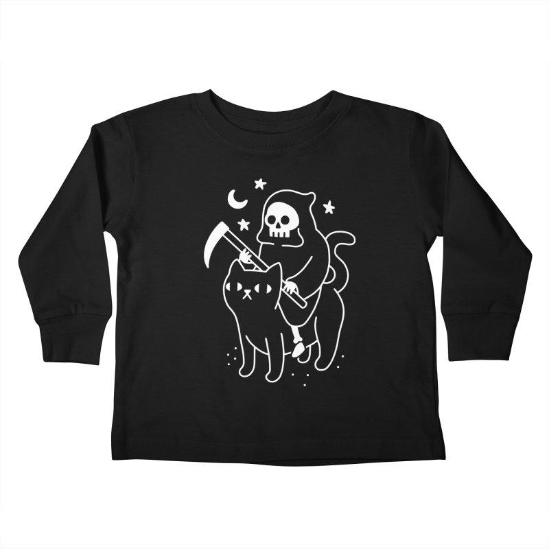 Death Rides A Black Cat Kids Toddler Longsleeve T-Shirt by obinsun