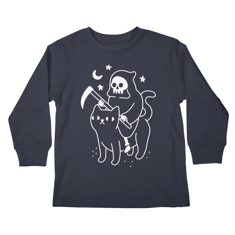 Death Rides A Black Cat Kids Longsleeve T-Shirt by obinsun