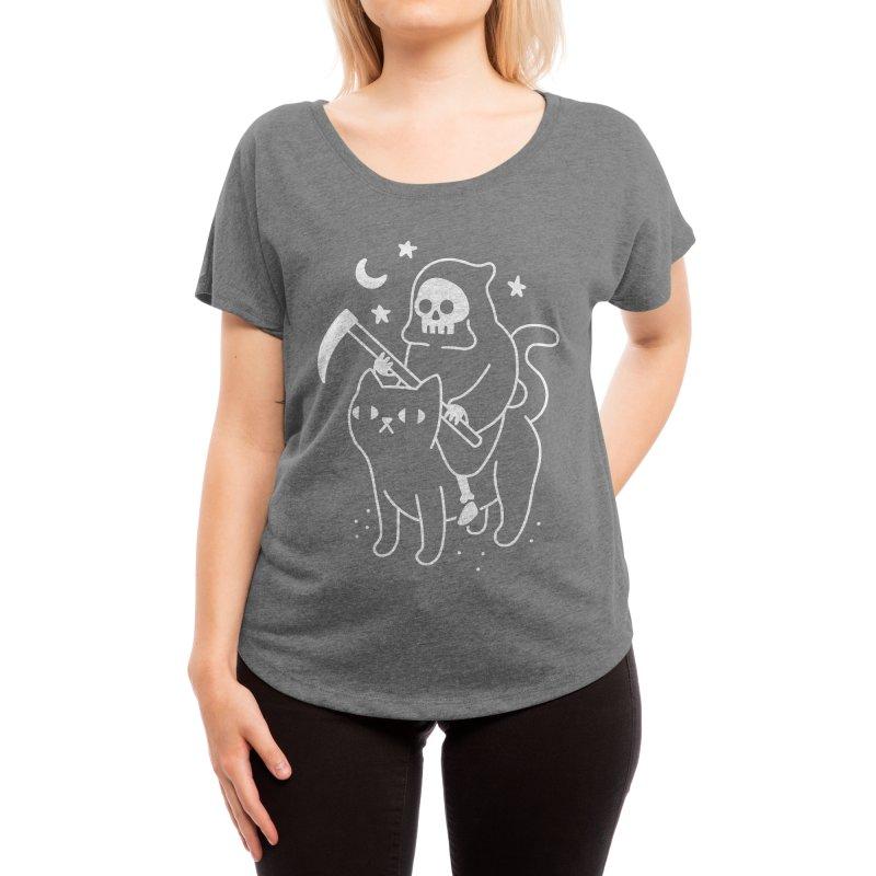 Death Rides A Black Cat Women's Scoop Neck by obinsun