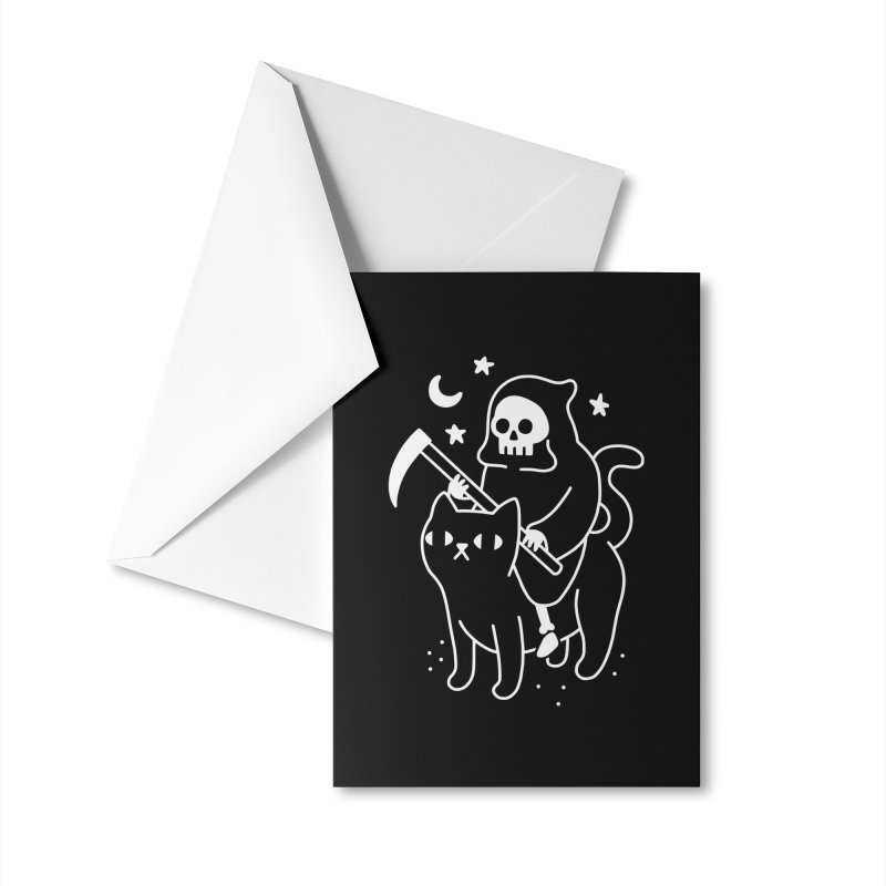 Death Rides A Black Cat Accessories Greeting Card by obinsun