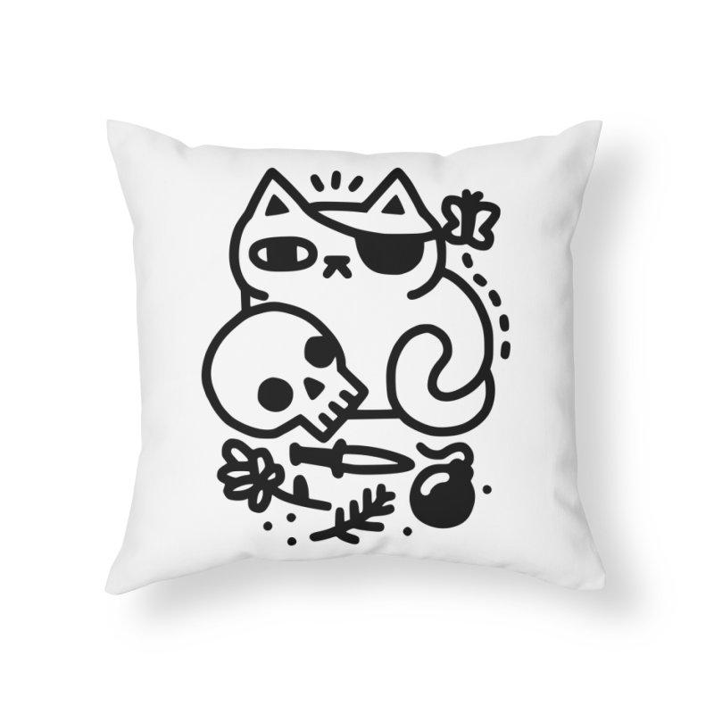 Badass Cat Home Throw Pillow by obinsun