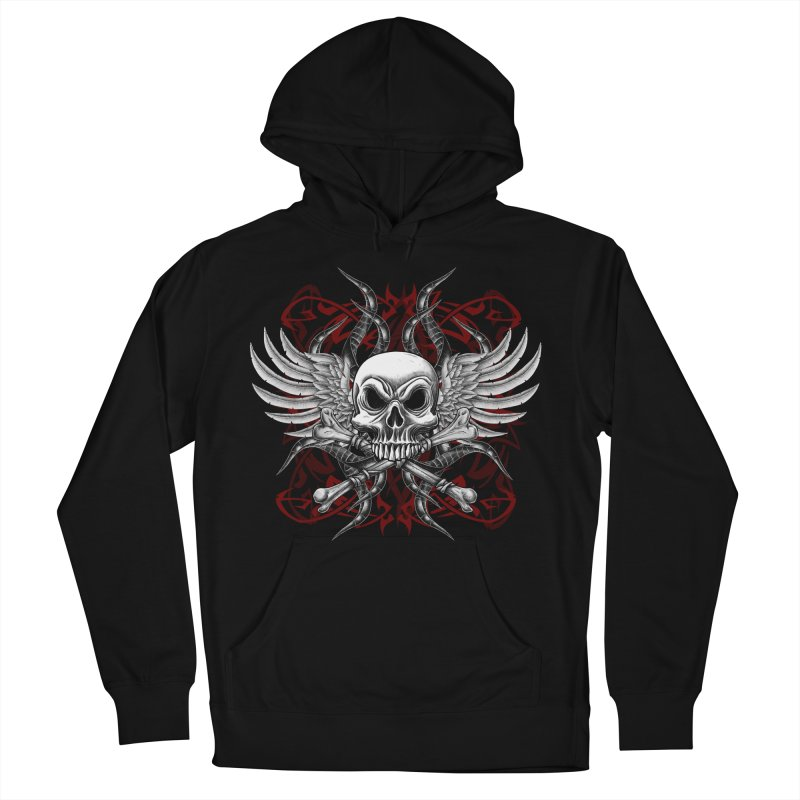 Winged Skull Women's French Terry Pullover Hoody by Oblivion Design's Artist Shop
