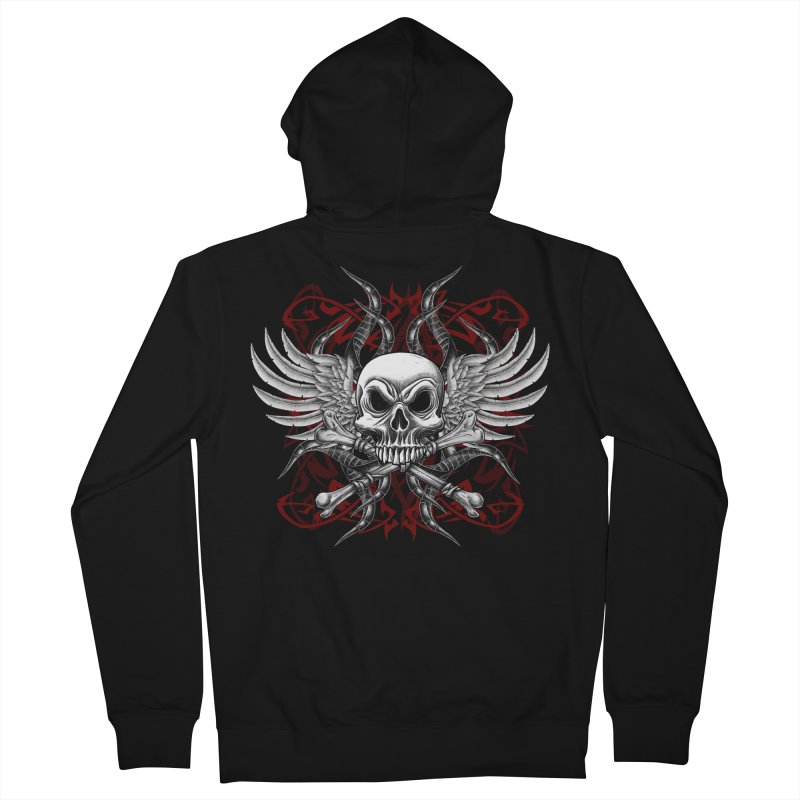 Winged Skull Men's Zip-Up Hoody by Oblivion Design's Artist Shop