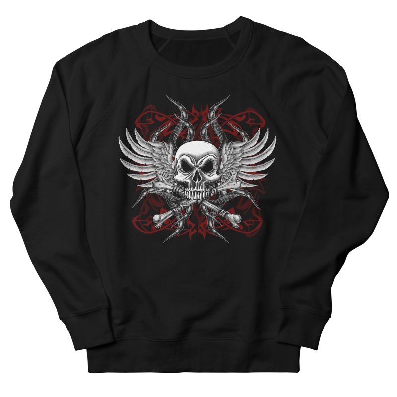 Winged Skull Men's French Terry Sweatshirt by Oblivion Design's Artist Shop