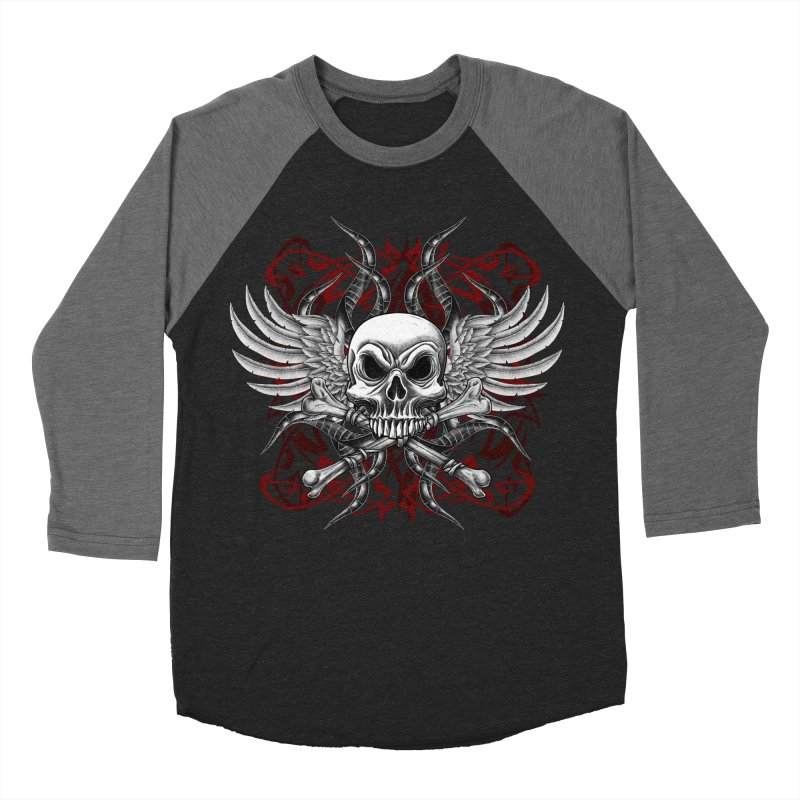 Winged Skull Men's Baseball Triblend Longsleeve T-Shirt by Oblivion Design's Artist Shop
