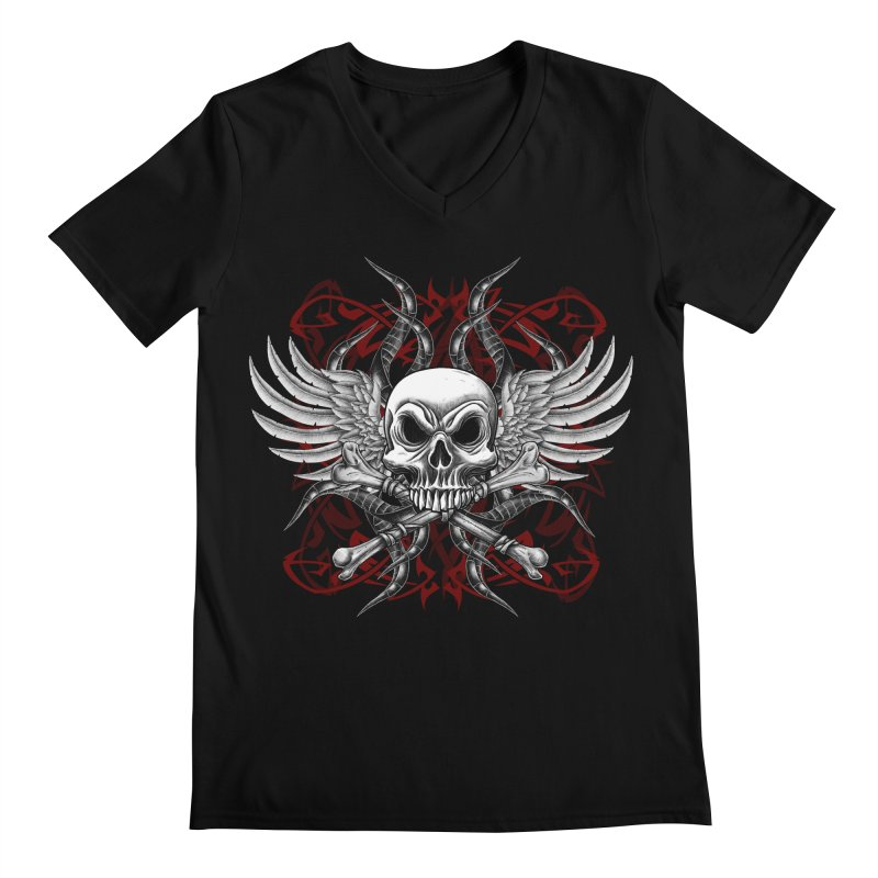 Winged Skull Men's V-Neck by Oblivion Design's Artist Shop