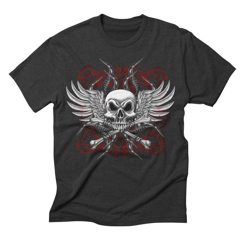 Winged Skull Men's Triblend T-shirt by Oblivion Design's Artist Shop