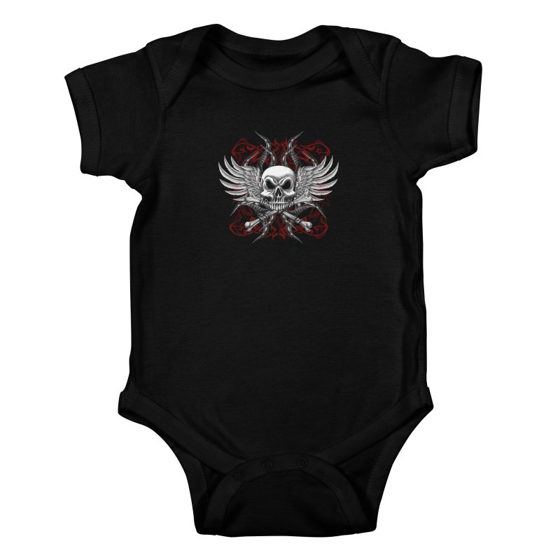 Winged Skull Kids Baby Bodysuit by Oblivion Design's Artist Shop