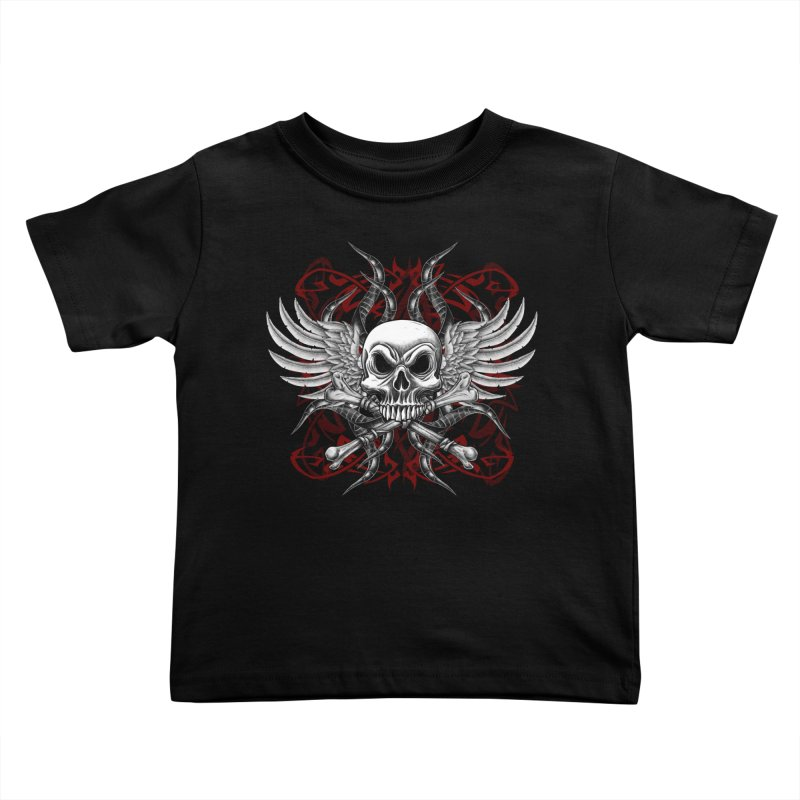 Winged Skull Kids Toddler T-Shirt by Oblivion Design's Artist Shop
