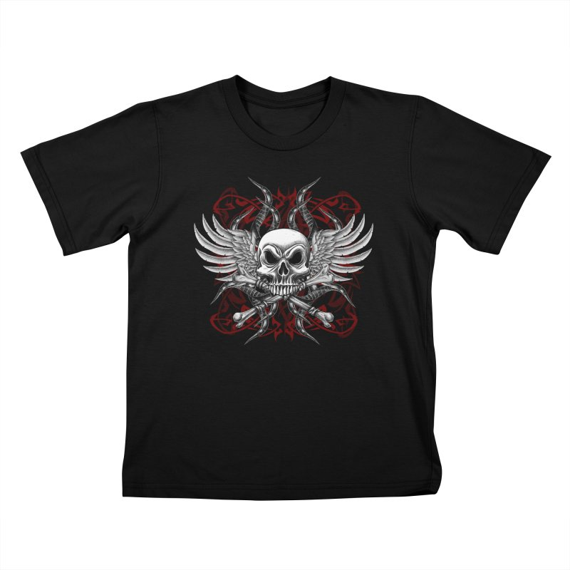 Winged Skull Kids T-Shirt by Oblivion Design's Artist Shop