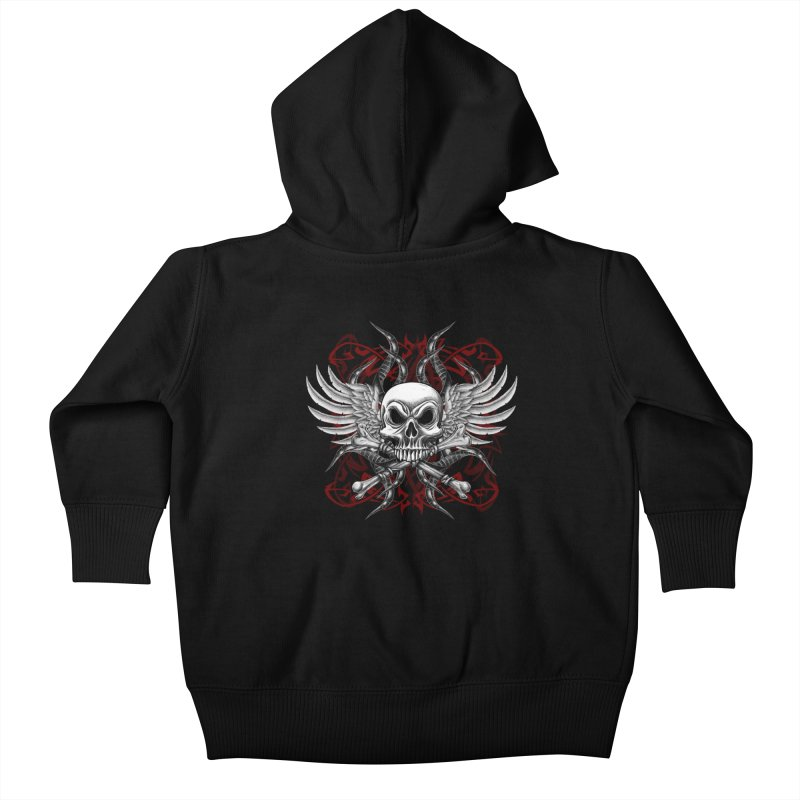 Winged Skull Kids Baby Zip-Up Hoody by Oblivion Design's Artist Shop