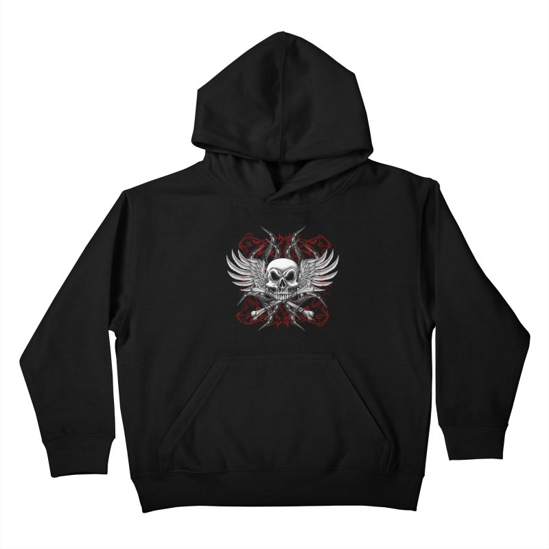Winged Skull Kids Pullover Hoody by Oblivion Design's Artist Shop