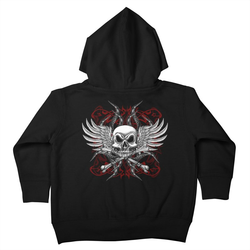 Winged Skull Kids Toddler Zip-Up Hoody by Oblivion Design's Artist Shop