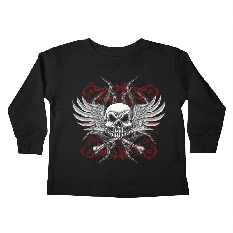 Winged Skull Kids Toddler Longsleeve T-Shirt by Oblivion Design's Artist Shop