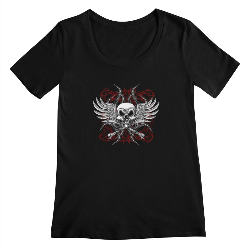 Winged Skull Women's Scoopneck by Oblivion Design's Artist Shop