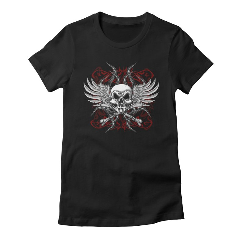 Winged Skull Women's Fitted T-Shirt by Oblivion Design's Artist Shop