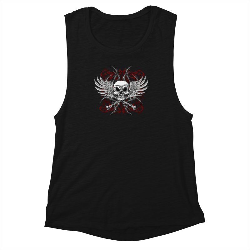 Winged Skull Women's Muscle Tank by Oblivion Design's Artist Shop