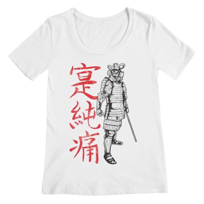 Samurai Skeleton Warrior (white) Women's Scoopneck by Oblivion Design's Artist Shop