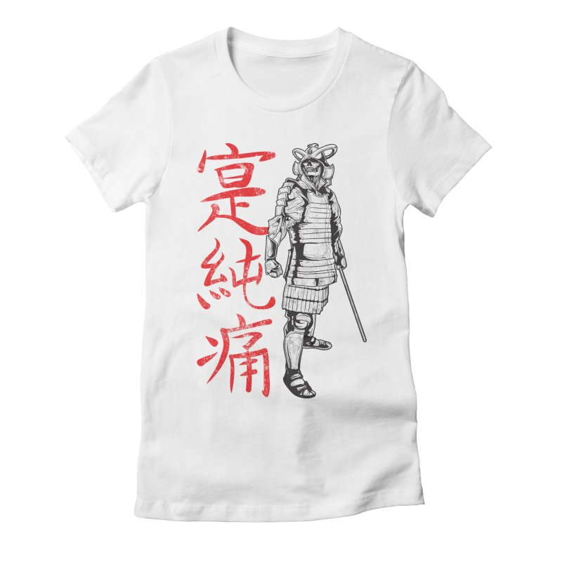 Samurai Skeleton Warrior (white) Women's Fitted T-Shirt by Oblivion Design's Artist Shop