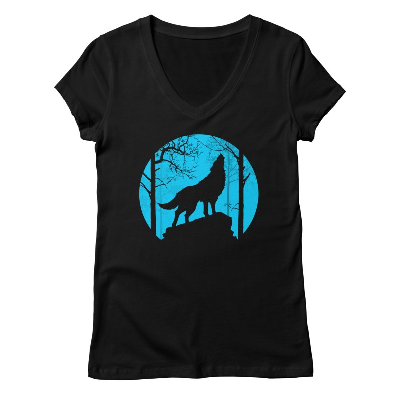 Midnight Howler Women's V-Neck by Oblivion Design's Artist Shop