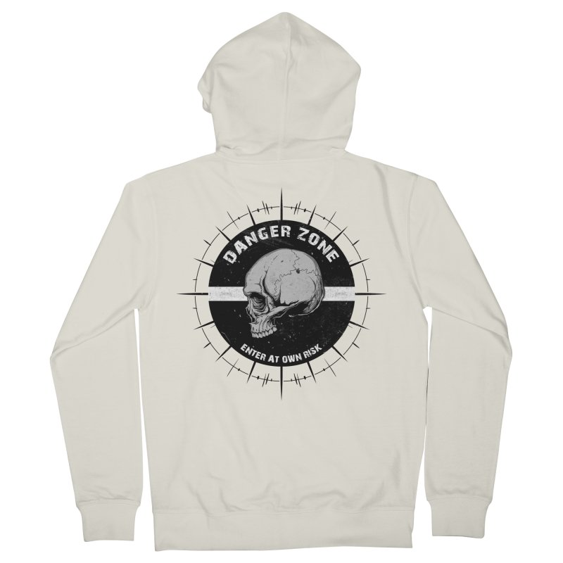 Danger Zone (white) Men's Zip-Up Hoody by Oblivion Design's Artist Shop
