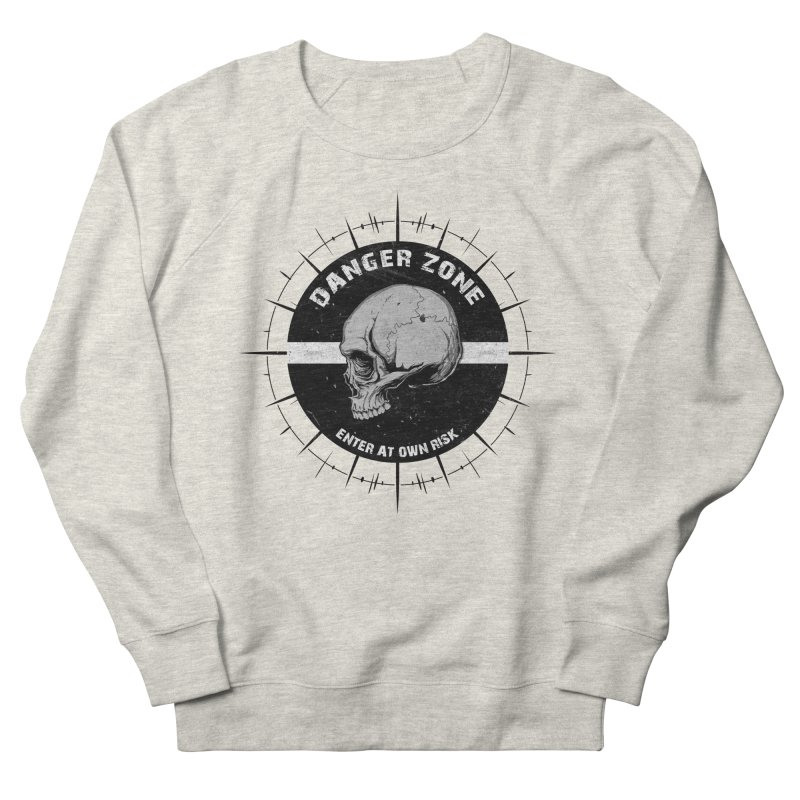 Danger Zone (white) Men's French Terry Sweatshirt by Oblivion Design's Artist Shop