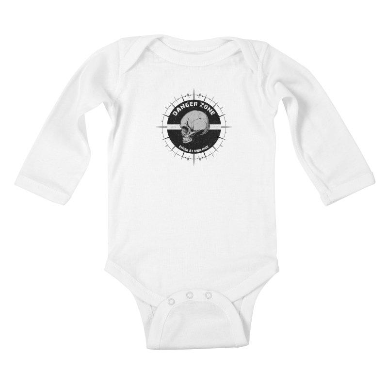 Danger Zone (white) Kids Baby Longsleeve Bodysuit by Oblivion Design's Artist Shop